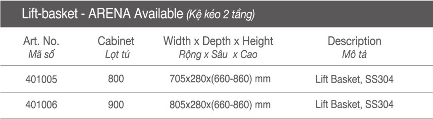 Thông số Kệ kéo tủ 2 tầng - 500mm