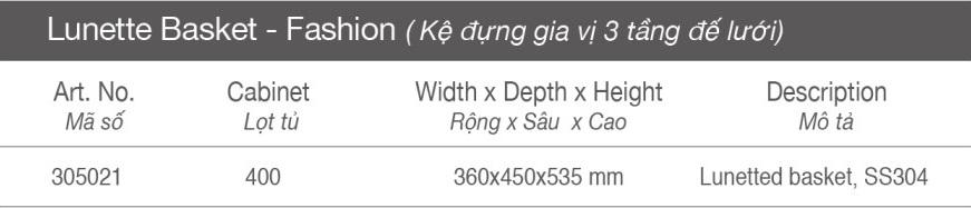 Thông số Kệ đựng gia vị 3 tầng - inox lưới