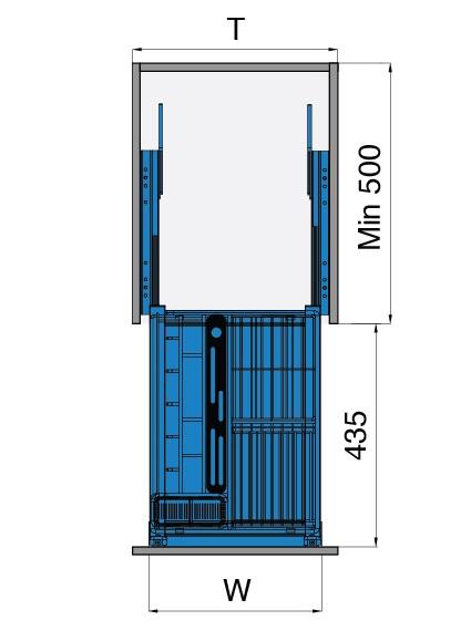 mặt cắt tủ đựng gia vị 400mm