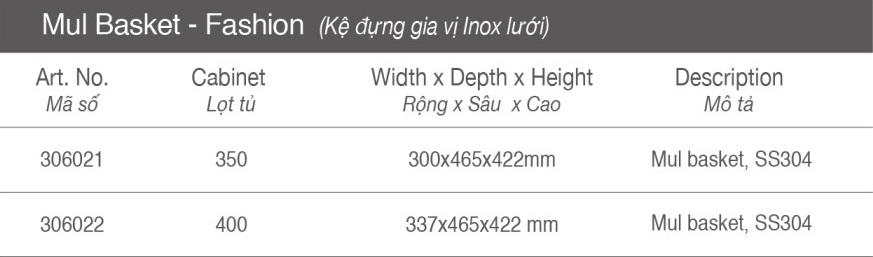 Thông số Kệ đựng gia vị - inox lưới