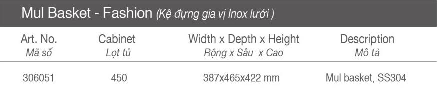 Thông số Kệ đựng gia vị - Tủ 450mm - inox lưới