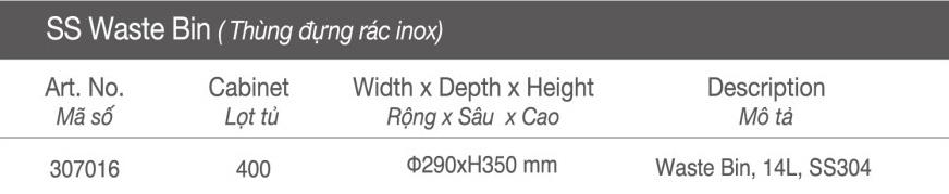 Thông số Thùng đựng rác inox