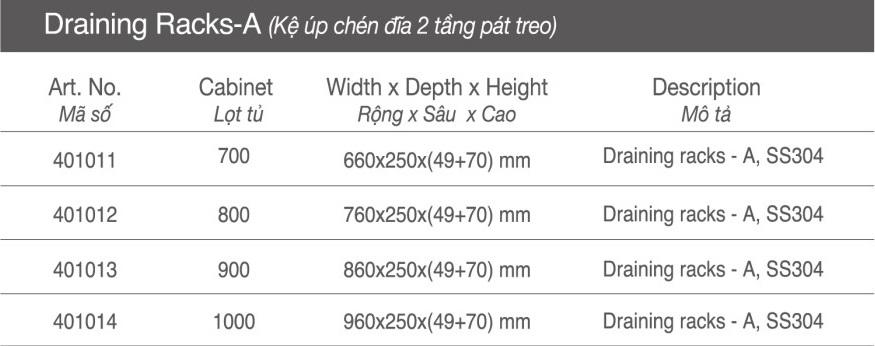 Thông số Kệ úp chén đĩa 2 tầng pát treo
