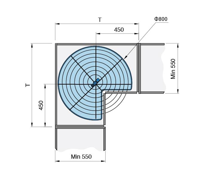 Mặt cắt Mâm xoay đế lưới 270 độ