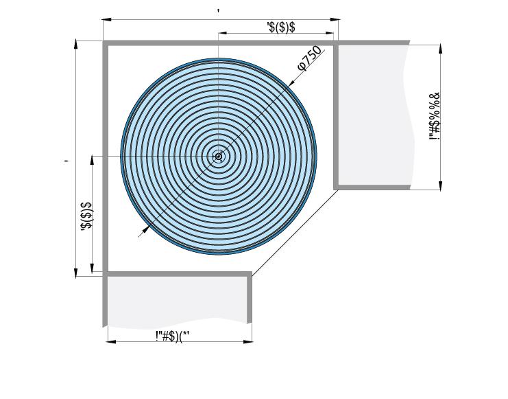 mặt cắt Mâm xoay đế lưới 360 độ