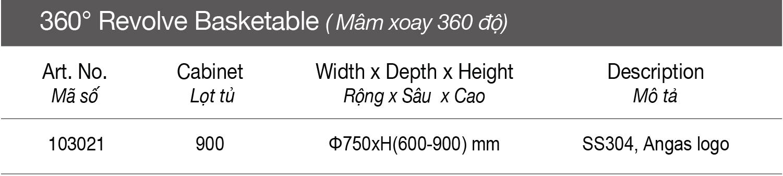 Thông số Mâm xoay đế lưới 360 độ